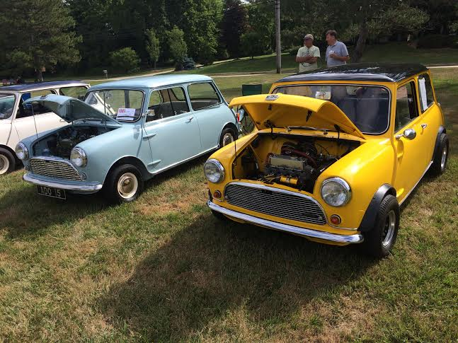 mini next to an original 1960 Austin 850 at BCD 2016